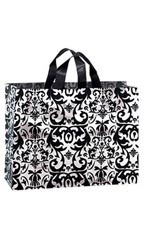 Large Black Damask Frosted Plastic Shopping Bag