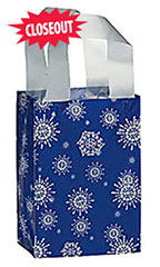 Silver Snowflake Holiday Frosted Shopping Bag