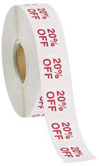 20% Off Self-Adhesive Discount Label
