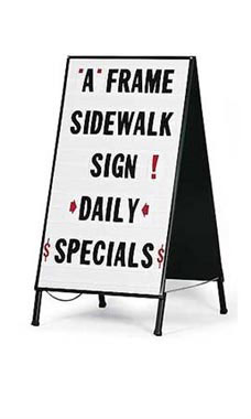 plastic a frame sidewalk sign white