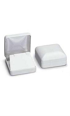 White Faux Leather Pendant Jewelry Boxes