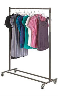 Boutique Raw Steel Single Rail Rolling Racks