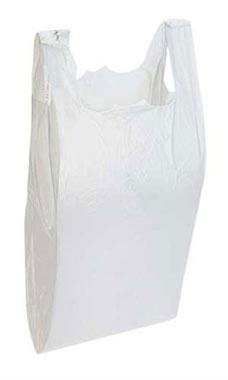 White Wholesale Plastic T-Shirt Shopping Bags - Small | Store Supply