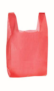 Red wholesale plastic t shirt shopping bags medium for Plastic shirt bags wholesale