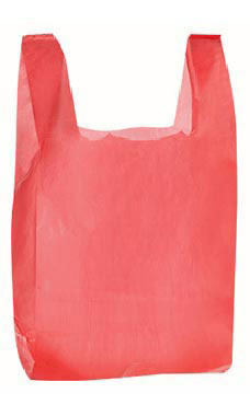 Red Wholesale Plastic T Shirt Shopping Bags Small