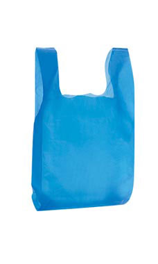 Blue Wholesale Plastic T Shirt Shopping Bags Small