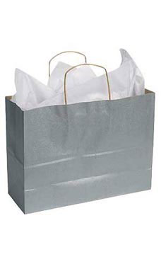 Large Kraft Shopping Bags with Handles- Metallic Silver | Store Supply