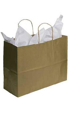 Large Kraft Shopping Bags with Handles- Metallic Gold | Store Supply