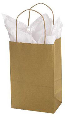 Small Kraft Shopping Bags with Handles - Gold - Paper | SSW