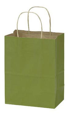 "Green Kraft Paper Shopping Bags - 8"" x  4"" x 10"""