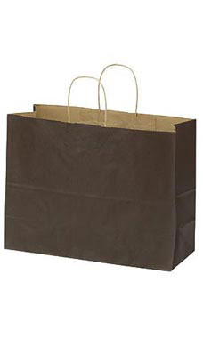 "Chocolate Kraft Paper Shopping Bags - 16"" x  6"" x 12"""